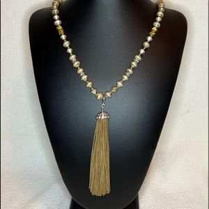 Stella & Dot Gold Bead Necklace Tassel Pendant